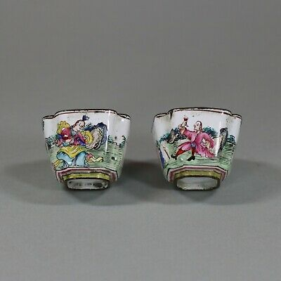 Pair of Chinese Canton enamel cups, Qianlong (1736-95)