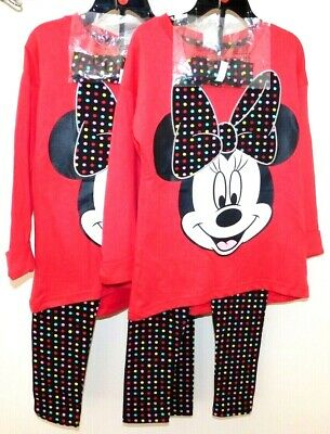 Official Disney Minnie Mouse Little Girls' 3 Piece Pajama Set 2 sizes 100%