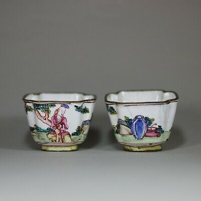 Pair of small Canton enamel wine cups, Qianlong (1736-95)