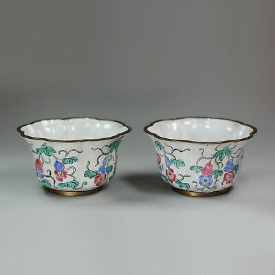 Pair of ribbed Chinese Canton enamel cups, 19th century
