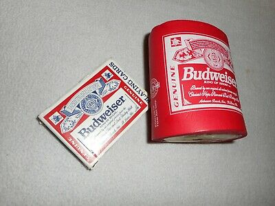 Vintage Budweiser KOOLIE can coozie and Playing Cards Lot * In Good Condition *