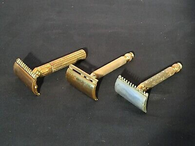 Lot of 3 Vintage Gillette Ball End Fat Handle Gold Tone Double Edge Safety Razor