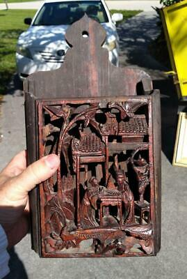 Old Antique Chinese Wood Carving Carved Asian Wooden Art Wall Pocket Holder
