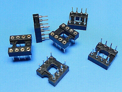 6x IC Socket Turn Pin Gold Plated (Inner Contacts) DIL Socket 8 Way 0.3""