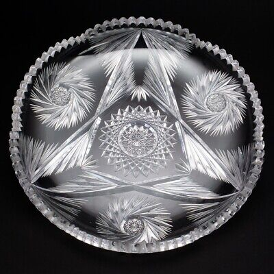 """American Brilliant Period ABP Round Cut Crystal Dish Shallow 12"""" Wide"""