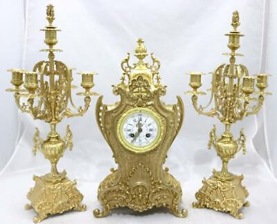 Magnificent French 8 Day Solid Bronze Rococo Shape Mantle Clock Garniture Set