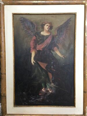 Antique Original Angel Archangel Hand Painted Oil Painting On Canvas