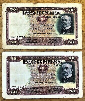 PORTUGAL 50 ESCUDOS of JUNE 28 1949 with 2 DIFFERENT SIGNATURES PICK # 154 CIRC