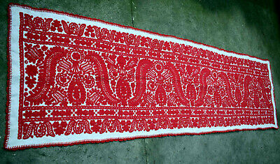 Giant Antique Traditional Hungarian Hand Embroidered  ÍRÁSOS Tablecloth  87.8""