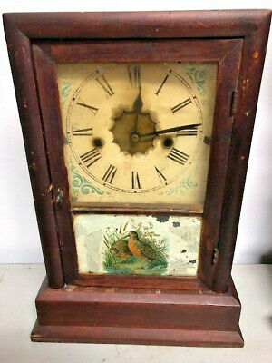 Antique Wood Mantle Clock Case With Bird On Glass