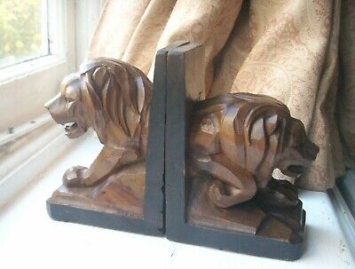 Old Antique Carved Wooden Black Forest Lion Bookends Swiss or German c.1910-20s