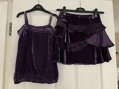 Girls John Lewis Crush Velvet Plum Party Outfit Age 7 Great Condition!