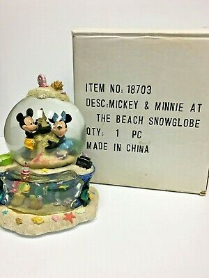 Disney's Mickey & Minnie Mouse at the Beach Musical Snow Globe RARE