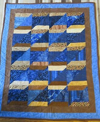 "New USA Hand Made Crib Quilt -Blue Brown Patchwork  35"" x 40"""