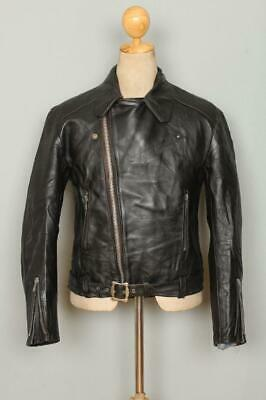 Vtg 1960s MASCOT British Belted Leather Motorcycle Biker Jacket Small