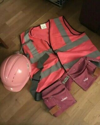 Girls Pink brick layers outfit builders fancy dress costume for hen do stag Vest