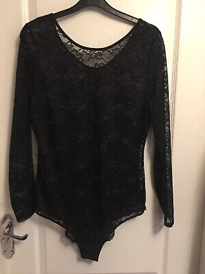 BNWOT Size 14/16 Black Stretch Lace Babydoll Bodysuit with Long Sleeved