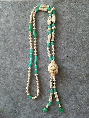 "Antique Art Deco Czech Glass Carved Head Egyptian Revival Necklace Beads 18""+"