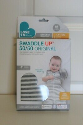 NEW Love to Dream Swaddle Up 50/50 Original Gray/White Stripe (M) 13-18.5 lbs.