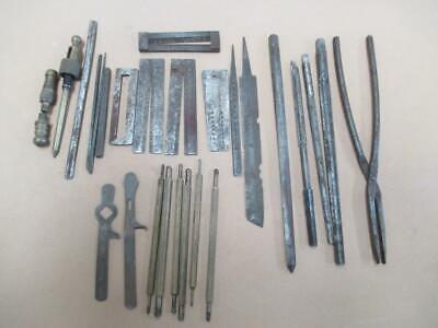 Watchmakers tools lot, roller cutter, reamers, tongs, burnishing etc, antique