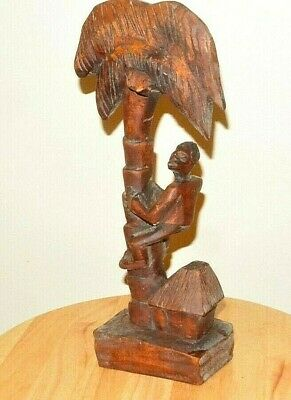 "Vintage Carved Wood Tribal Man Climbing Palm Tree 12"" Tall"