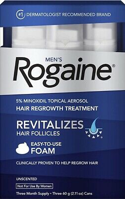 Rogaine Hair Regrowth Men 5% Minoxidil Foam 3 month Exp: 2020+ FREE SHIPPING!