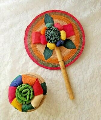 Mexican Folk Art Flower Corn Husk Fan and Matching Trinket Handmade Artwork