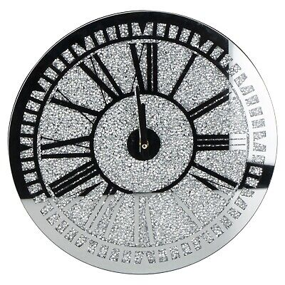 Silver Square Crushed Crystal Clock 40cm Black Time Ornament Sparkle Diamante