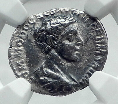 COMMODUS as Caear Authentic Ancient Rome Silver Roman Coin HILARITAS NGC i81389
