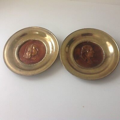 Solid Brass Wall Hanging Plates  Pictures Made in England Lot of 2