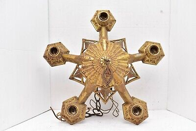 VTG ART DECO Ceiling Light Lamp Fixture hanging chandelier 5 Bulb ORNATE large