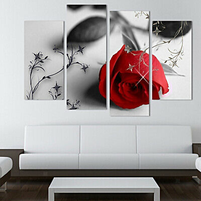 4 Panels Rose Canvas Print Wall Art Hanging Painting Picture Unframed Decor