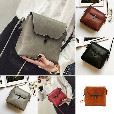 Ladies Girls PU Vintage Lock Small Square Shoulder Messenger Elegant Bag