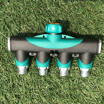 "3/4"" Garden Hose 4 Way Splitter Water Pipe Faucet Shut-off Valve Connector"