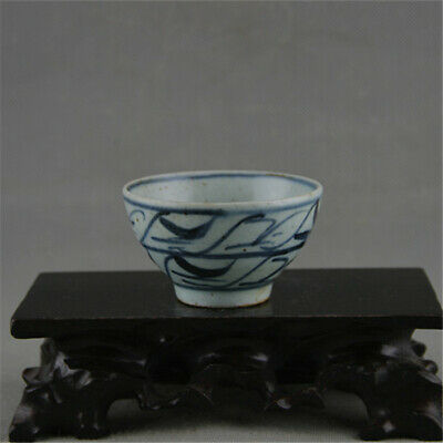 Fine Chinese Ming Dynasty old antique Porcelain blue white gongfu tea cup bowl