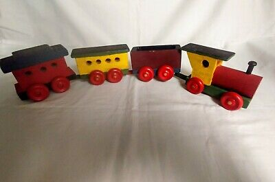 Hand Crafted Wooden Train with Engine and Three Cars Genuine Hand Made Kids Toy
