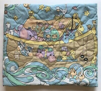 Precious Moments Infant Bab Crib Bed Blanket Comforter Blue Noahs Ark Theme