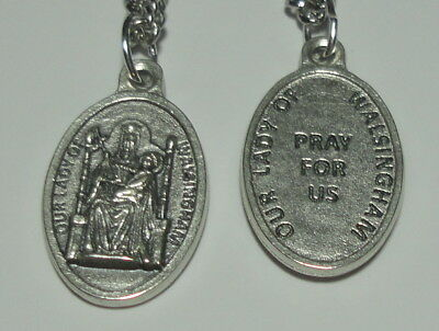 """Our Lady of Walsingham Holy Medal on 24"""" Steel Chain 11th C. Marian Apparition"""