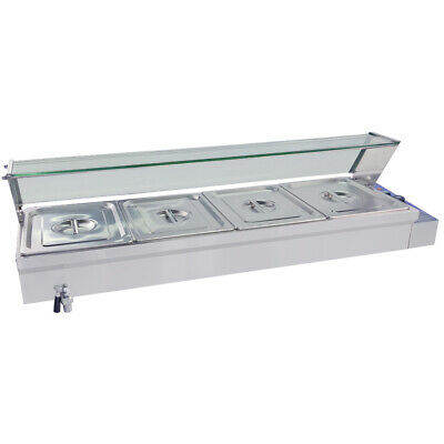 Commercial 4 pans Bain Marie Food Warmer display Electric Buffet Heating Pool