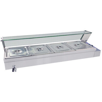 Commercial Bain Marie 4 pans Food Warmer display Electric Buffet Heating Pool