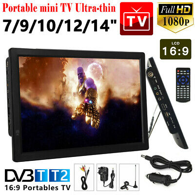 "14"" Freeview 1080P HDMI HD USB Car 12V Portable Digital Analog ATV TV Player UK"