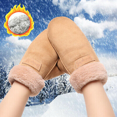 Windproof Thicken Warm Cashmere Mittens Candy Color Faux Fur Gloves Anti-Lost