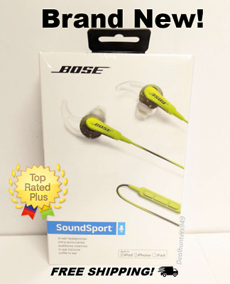 NEW! Bose SoundSport in-Ear Headphones for Apple Devices - Wired (Energy Green)