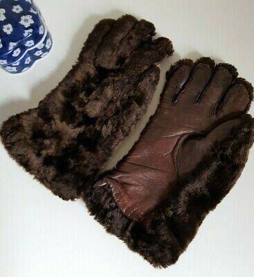1940s 1950s Brown leather sheepskin fur winter gloves unisex mens womens