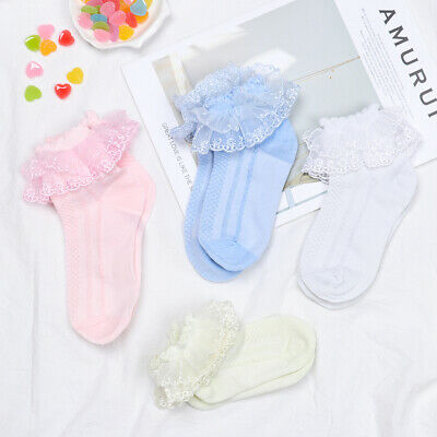 Pink Yellow Breathable Soft Princess Mesh Socks Ankle Sock Lace Ruffle Cotton
