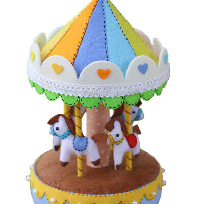 Felt Ornament Kit Non-woven Cloth Carousel Music Box Materials Needlework