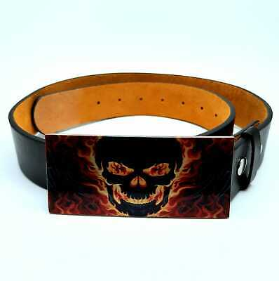 Flaming Skull 3d effect Belt Buckle Metal Biker Rock Gothic Mens ladies Gift