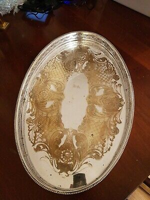 Large Vintage Silver Plate Gallery Tray