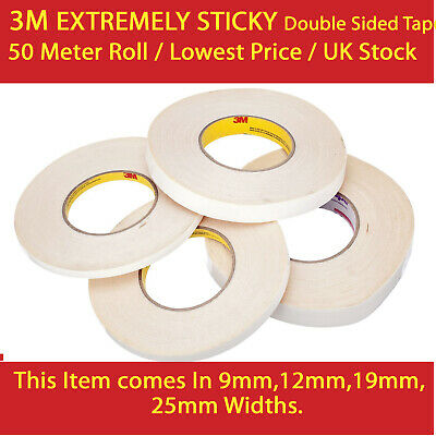 3M EXTREMELY STRONG DOUBLE SIDED TAPE 9 12 19 25mm x 50M For Craft And Mobile