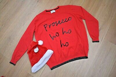 Womens Size 18-20 Red Christmas Jumper Prosecco + Sequins & Bnwt Santa Hast